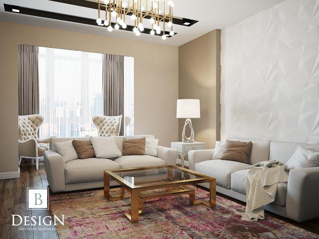 Дизайн интерьер гостинной зала